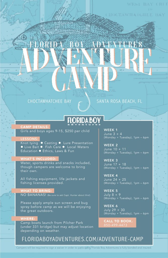 Florida Boy Adventures - Adventure Camp Poster // 30A Summer Camp // Inshore Fishing